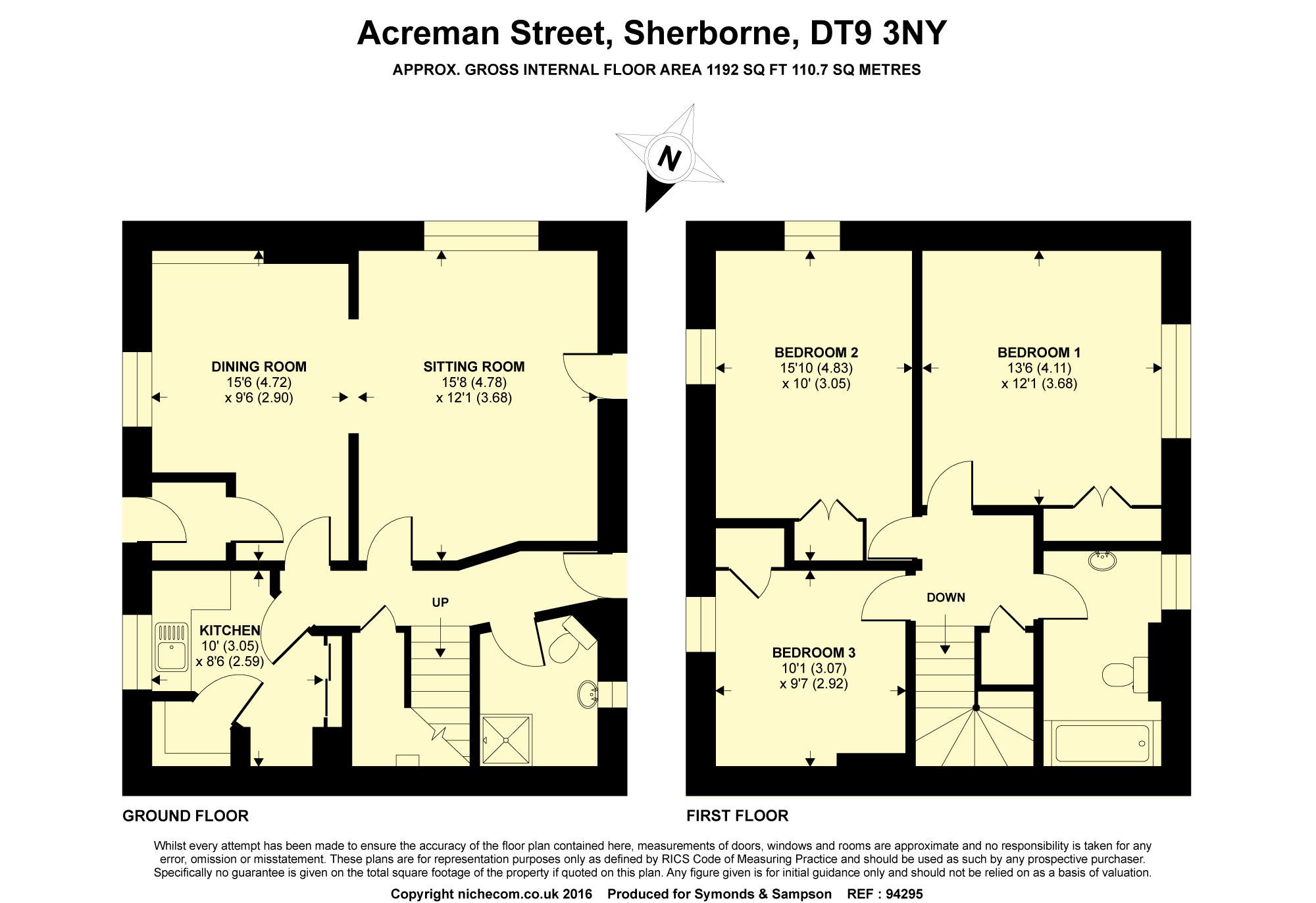 Floorplan - Acreman Street, Sherborne, Dorset, DT9 3NY